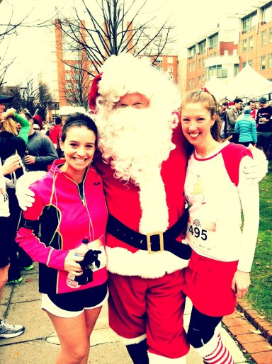 Running with Santa and Stacey at last year's Winter Classic