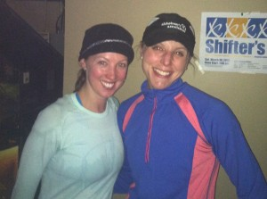 Chrissy and I at Crossroads after a hard core 11 miler (also a plug for Shifters 5k in March.