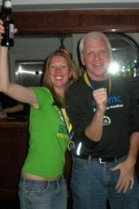 Celebrating a Boston Marathon finish with Shifter.
