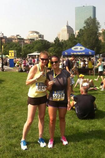 Post Race on Boston Common with Stacey