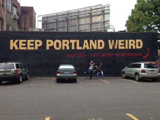 Nancy and I, doing our best to help Keep Portland Weird