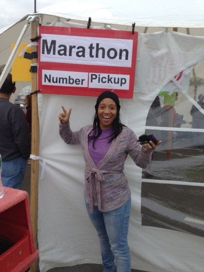 Christine's First Marathon Bib Pick Up!
