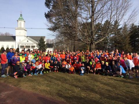 The Run for Research team gathers in Hopkinton before our 21 mile run.