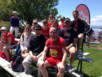 Family photo at the finish line bleachers.